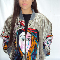 vintage PICASSO Face BOMBER Jacket Slouchy Silky Art Print Metallic Oversized Boyfriend os