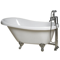 Giagni 60-in x 30-3/8-in Messina White Oval Clawfoot Bathtub with Reversible Drain