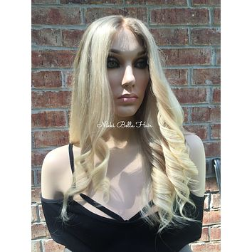 Blond Balayage Brazilian Human Hair Swiss Full Lace Wig -  Shelby
