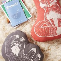 Plum & Bow Woodblock Fox Pillow