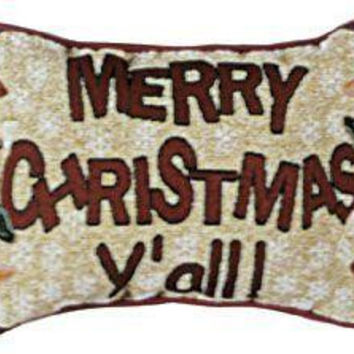 "2 Merry Christmas Y'all! Pillows - Measurements: 9 ""  X 12 """