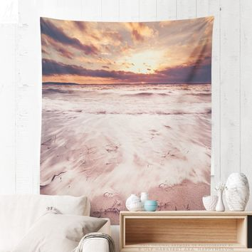 Beautiful Ocean Sunset Tapestry, Sea Wall Tapestry, Sunset Tapestry, Wanderlust, Adventure, Nautical, Home Decor, Wall Decor, Wall Art, Dorm