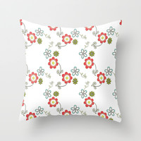 Ditsy Flower Chain Throw Pillow by Ally Coxon | Society6