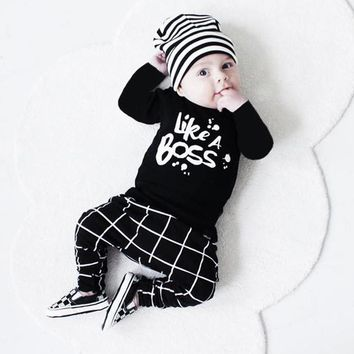 Kids things Baby Boy Clothing Set babies Toddler Newborn Baby Girl Clothes Lettering Long Sleeve T-shirt Tops +Pant Baby Clothes