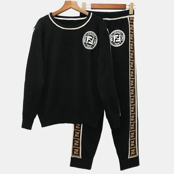 FENDI Autumn Winter New Fashion Women Casual FF Letter Round Collar Knit Sweater Top Pants Trousers Set Two-Piece