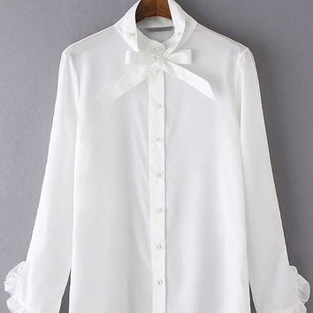 White Bow Tie Ruffle Cuff Buttons Front Blouse