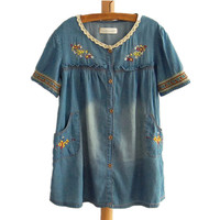 Sweet Tribe Embroidery Lace Neck Tops