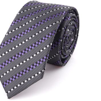 Checkered Purple and Gray Tie with Stripes