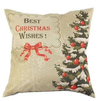 Khaki Bowknot Pop-up and Christmas Tree Cushion Cover