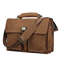 "Men's Handmade Vintage Leather Briefcase / Leather Messenger Bag / 15"" MacBook 14"" 15"" Laptop Bag D34"