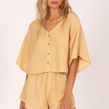 Amuse Bungalow Short Sleeve Woven Crop