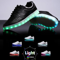 Womens LED Light-up Shoes: Black sneaker with color changing lights for festivals, edc, ultra, raves, burning man, light up glowing