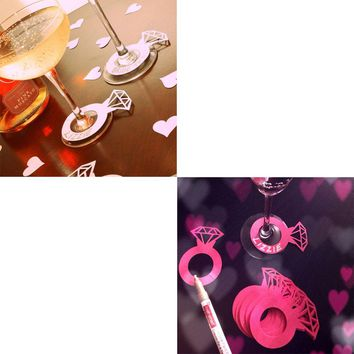 50/pcs Laser Cut Paper Diamond Ring wedding Wine Claim Cup Card wedding table decor Engagement Shower Bachelorette Party New