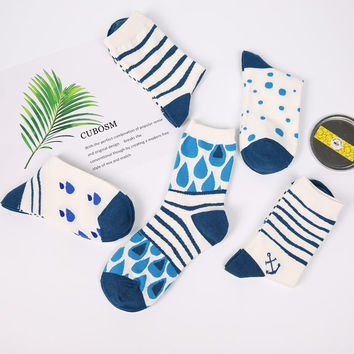 PEONFLY 2017 new Ocean style women socks female cylinder breathable sweat absorbent cotton blue funny socks hosiery  5pais/lot