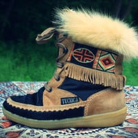 Tecnica Indian Tribal Embroidered Snow Boot Bootie Fringe Leather Pony Fur Black Brown Neutral Hippie Gypsy Pixie Festival Love
