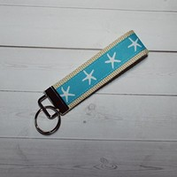 Key FOB / Key Chain / Wristlet - turquoise star fish - teachers gift coworker bridesmaids