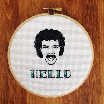 "Lionel Richie Hello - 5"" Cross Stitch"