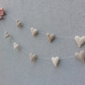 Wedding Decoration, Crochet Hearts, Heart Garland, Baby Shower, Photography Prop, Wedding Garland, Party Decor