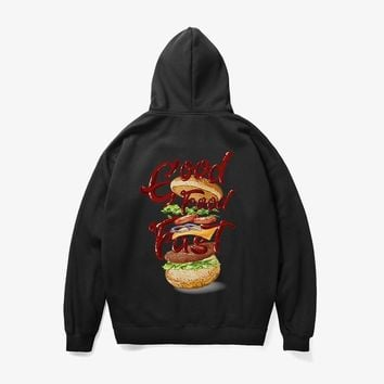 Hoodie Hamburger style 3d print street winter sweater