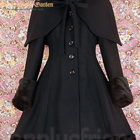 Classic Gothic Lolita: Heavy Wool & Fur Coat with Hood Cape