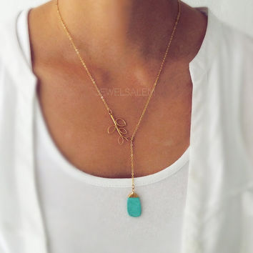Gold Lariat Necklace Leaf Turquoise Gemstone Layering Long Modern Jewelry Gift for Mother Sister Best Friend C1