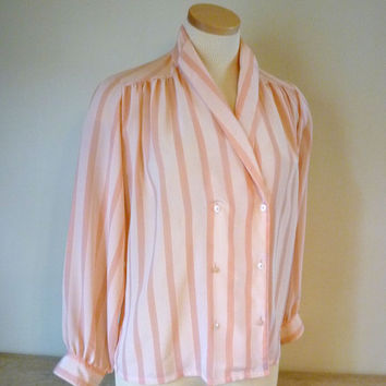 Pink Stripe Blouse for Women, 1980s Dressy Blouse, Size 8