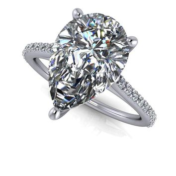 Pear Cut Engagement Ring Setting - Diamond Engagement Ring - Pear SUPERNOVA Moissanite Ring