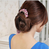 Korean style jewelry, large insert hair comb, bridal jewelry, manufacturing hair, Senior Rhinestone Flower beautiful hairpin