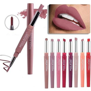 8 Color Double-end Lip Makeup Lipstick Pencil Waterproof Long Lasting Tint Sexy Red Lip Stick Beauty Matte Liner Pen Lipstick Gift