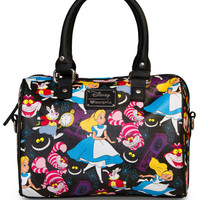 """Alice In Wonderland Print"" Pebble Crossbody Duffle by Loungefly (Black)"
