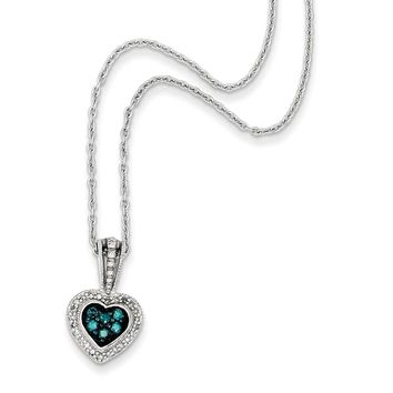 1/4 Ctw Blue & White Diamond Small Heart Necklace in Sterling Silver