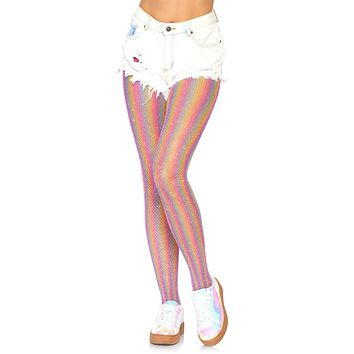 So Much Pride Lurex Rainbow Stripe Pattern Fishnet Mesh Tights Stockings Hosiery - 2 Colors Available