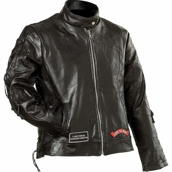 Ladies' Rock Design Genuine Buffalo Leather Motorcycle Jacket