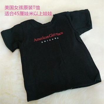 clothes Fit 18'' American Girl Doll cute black T shirt For American Girl's Christmas Gift