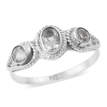 Artisan Crafted Petalite Sterling Silver Trilogy Ring