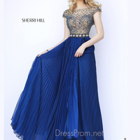 Cap Sleeves Beaded Chiffon A-line Sherri Hill Prom Dress 32068