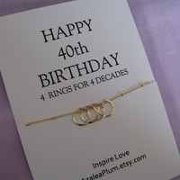 40th BIRTHDAY Gift, GOLD Eternity Circle Birthday gift for Mom, Sister jewelry. 40th Birthday Gift for Her. Sisters 40th Birthday Necklace