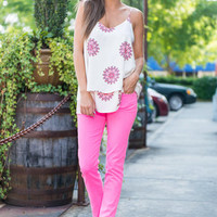 Bright Start Skinny Jeans, Neon Pink