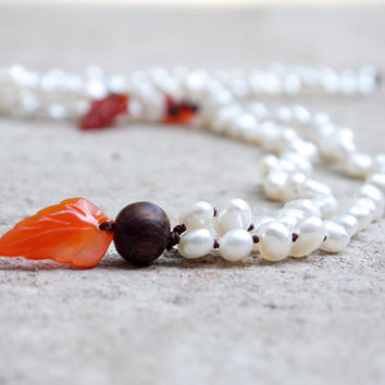 White pearl mala necklace Red leaf beaded necklace Autumn leaves jewellery Boho beads Bohemian necklace 108 japa mala beads Carved red agate