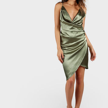 Strappy Back Draped Wrap Dress | MakeMeChic.COM