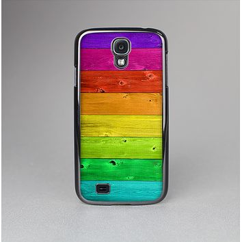 The Rainbow Highlighted Wooden Planks Skin-Sert Case for the Samsung Galaxy S4