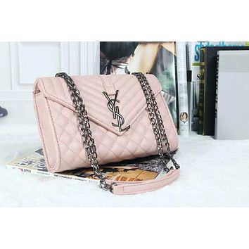 YSL Women Shopping Leather Metal Chain Crossbody Satchel Shoulder Bag(6-Color) Pink I-MYJSY-BB