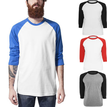 2016 Mens New Baseball Tops Fashion Trend Hip Hop Skateboard Casual T Shirts 3/4 Sleeve Raglan Tee