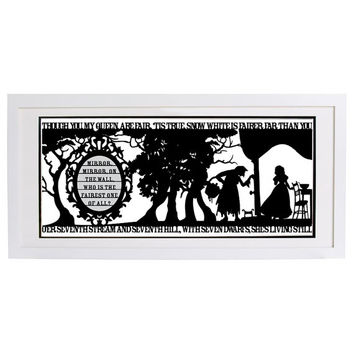 Snow White's Mirror Signed and Framed Papercut Print • Fairytale Wall Art • Paper Cut Quote