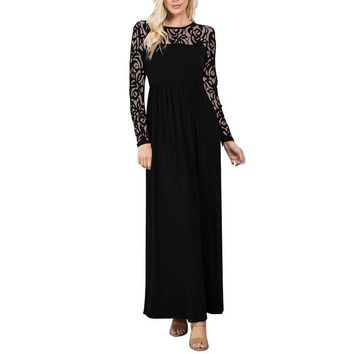 Women Lace Maxi Dress Winter Spring long Sleeve Tunic Office Dresses Fashion Empire ladies vestidos Sexy Female