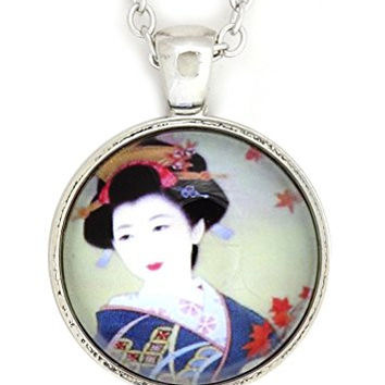 Geisha Woman Necklace Silver Tone NV24 Traditional Japanese Art Pendant Fashion Jewelry
