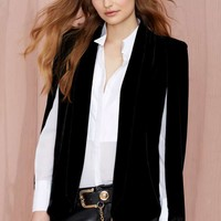 Nasty Gal Strike Midnight Velvet Cape Blazer