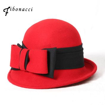 Women Wool Bow Fedora Hat Autumn Winter Noble Elegant Girls Fashion Felt Cap Ladies Flanging Bucket Hats