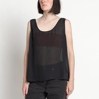 Vintage 90s Sheer Black Minimal Tank Top | M/L