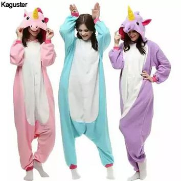 Purple Unicorn Onesuit Pajamas Sets Lovers Adult Kugurumi Halloween Cosplay Christmas Costumes Sleepwear Winter Nightie For Women